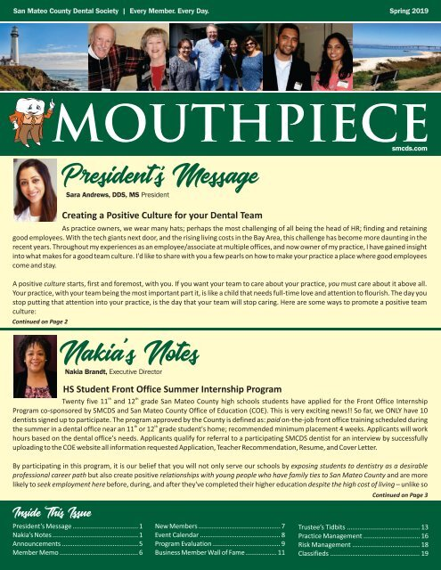 2019 Spring SMCDS Mouthpiece Newsletter