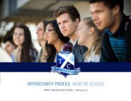 Trinity Christian HS Opportunity Profile