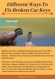 Solutions to Fix Broken Car Keys - Krazy Keys