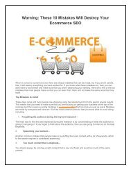 Warning These 10 Mistakes Will Destroy Your Ecommerce SEO