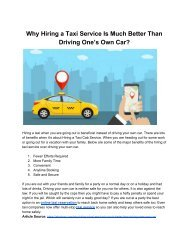 Why Hiring a Taxi Service Is Much Better Than Driving One's Own Car