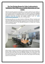 The Top Meeting Rooms for Video Conferencing in Melbourne That Will Leave a Lasting Impression on Your Clients