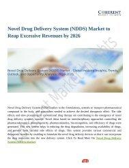 Novel Drug Delivery System (NDDS) Market To Witness Widespread Expansion During 2026