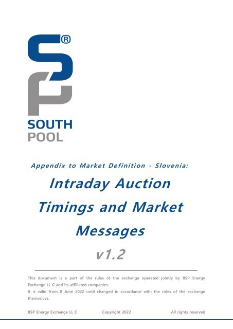 Intraday Auction Timings and Market Messages