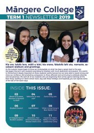 Mangere College Term 1 Newsletter 2019