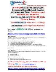 [2019-April-New]Braindump2go New 300-320 VCE and 300-320 PDF Free Share
