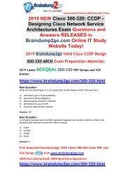 [2019-April-New]Braindump2go New 300-320 VCE Dumps Free Share