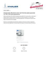 Knauer HPLC Pump APG20EB Technical Specifications