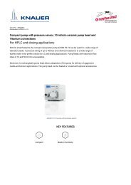 Knauer HPLC Pump APG20EF Technical  Specifications