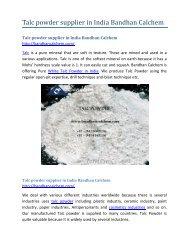 Talc powder supplier in India Bandhan Calchem