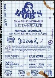 Mittagskarte BOB'S im Alten Pumpenwerk