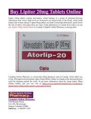 Buy Lipitor 20mg Tablets Online