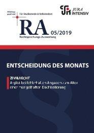 RA 05/2019 - Entscheidung des Monats