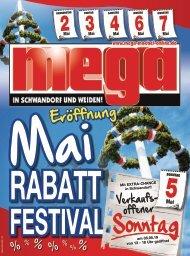 Mai-Rabatt-Festival-Eröffnung bei mega-Möbel in Schwandorf und Weiden