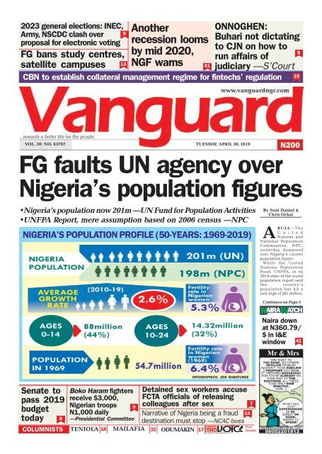 30042019 - FG faults UN agency over Nigeria's population figures