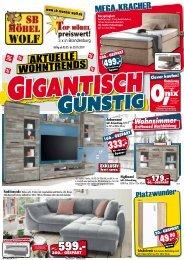 Aktuelle Wohntrends - gigantisch - günstig bei-SB-Möbel Wolf - Top-Möbel preiswert, 3x in Brandenburg