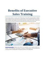 Benefits of Executive Sales Training