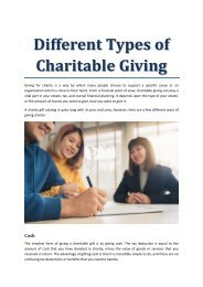 Different Types of Charitable Giving