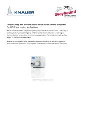 KNAUER HPLC Pump APG20FB Tech Specifications