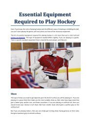 Essential Equipment Required to Play Hockey