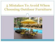 5 Mistakes To Avoid When Choosing Outdoor Furniture
