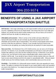 Benefits of Using a JAX Airport Transportation Shuttle
