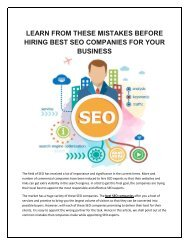 LEARN FROM THESE MISTAKES BEFORE HIRING BEST SEO COMPANIES FOR YOUR BUSINESS