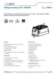 Voltage transducer DVL 1500/SP1 VPN = 1500 V - LEM