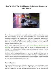 How To Select The Best Motorcycle Accident Attorney In Fort Worth