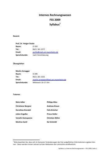 Internes Rechnungswesen FSS 2009 Syllabus - Lehrstuhl für ABWL ...