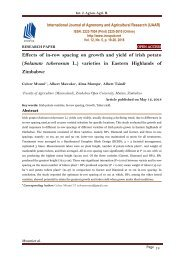 Effects of in-row spacing on growth and yield of irish potato (Solanum tuberosum L.) varieties in Eastern Highlands of Zimbabwe