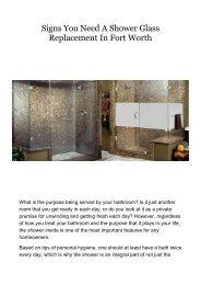 Signs You Need A Shower Glass Replacement In Fort Worth