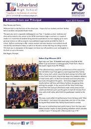 Principals Letter April 2019