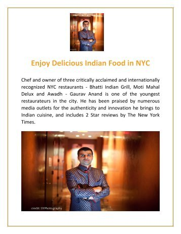 Get Delicious Indian Food in NYC | Gaurav Anand