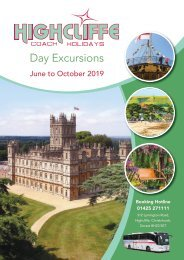 Highcliffe Coach Holidays -Day Excursions June to oct 2019