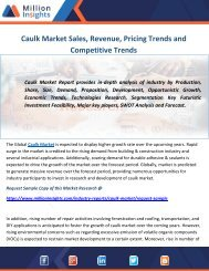 Caulk Market Sales, Revenue, Pricing Trends and Competitive Trends