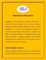 Maid Service Monument | Professional Cleaners - Sparklean