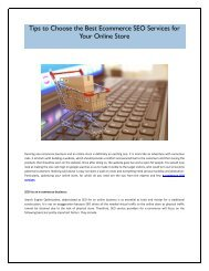 Tips to Choose the Best Ecommerce SEO Services for Your Online Store