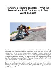 Handling a Roofing Disaster – What the Professional Roof Contractors in Fort Worth Suggest