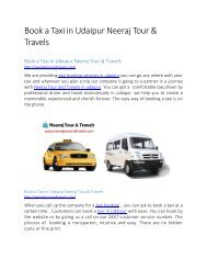 Book a Taxi in Udaipur Neeraj Tour & Travels