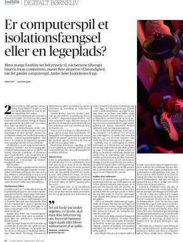 Jyllands-Posten: Indblik Weekend - Digitalt Børneliv