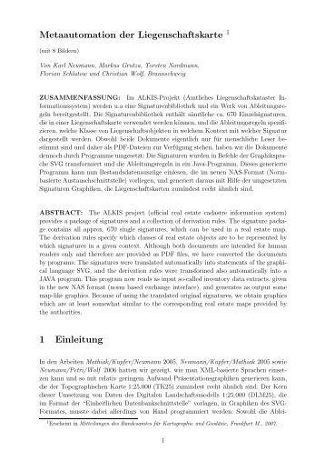 Metaautomation der Liegenschaftskarte 1 1 Einleitung