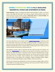GODREJ PROPERTIES NEST A FULLY DEVELOPED RESIDENTIAL STUDIO AND APARTMENTS IN NOIDA