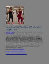 How Does Melt And Trim 800 Work For Weight Loss