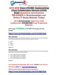 [2019-May-Version]Braindump2go New CICD 210-060 PDF and 210-060 VCE Free Share