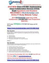 [2019-May-Version]Braindump2go New CICD 210-060 VCE Dumps Free Share