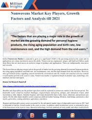 Nonwovens Market Key Players, Growth Factors and Analysis till 2021