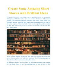Create Some Amazing Short Stories with Brilliant Ideas