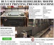 Buy Used 1986 Heidelberg MOFPH Offset Printing Presses Machine