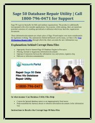 Sage 50 Database Repair Utility | Call 1800-796-0471 for Support